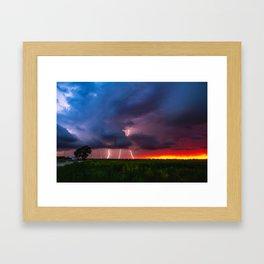Quad Strike - Lightning Rains Down on the Oklahoma Landscape Framed Art Print