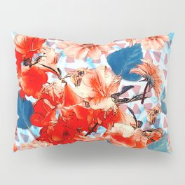Geometric Flowers and Bees Pillow Sham