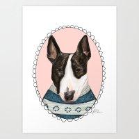 bull terrier Art Prints featuring Bull Terrier by Rhian Davie