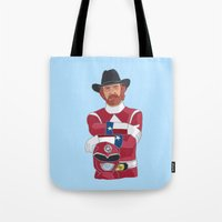 power ranger Tote Bags featuring Walker Texas Power Ranger by Emily Niland