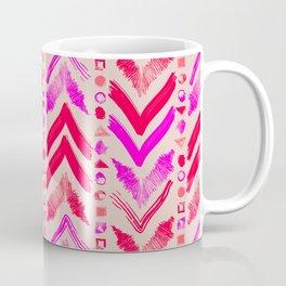 Tribal Scribble Kilim in Neon Coral + Neutral Coffee Mug