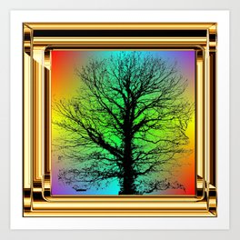 Black tree in Golden Frame. Art Print