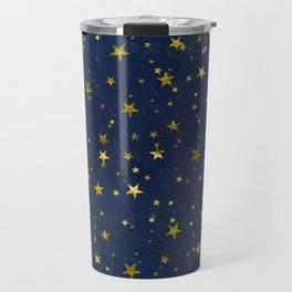 Golden Stars on Blue Background Travel Mug