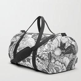 Zebra finch and rose bush ink drawing Duffle Bag