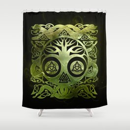 Tree of life - Yggdrasil  and celtic animals Shower Curtain