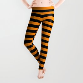 Dark Pumpkin Orange and Black Halloween Deck Chair Stripes Leggings