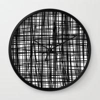striped Wall Clocks featuring striped by nionio.design