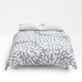 Grey and White Abstract Firework Flowers Comforters
