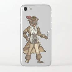 Red Feather Pirate Drummer Cat Clear iPhone Case
