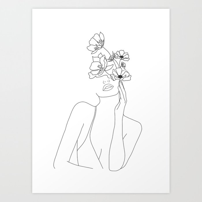Minimal Line Art Woman with Flowers Kunstdrucke