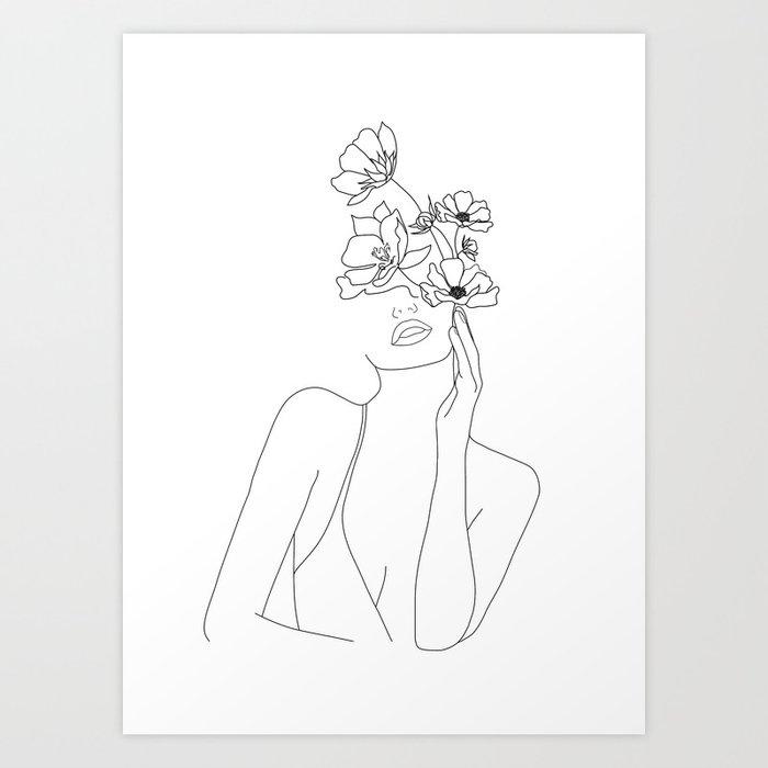 Minimal Line Art Woman with Flowers Art Print