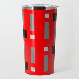 Pattern of Squares in Red Travel Mug
