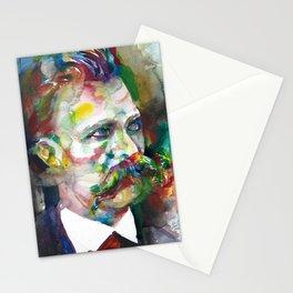 FRIEDRICH NIETZSCHE - watercolor portrait.4 Stationery Cards