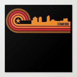Retro Style Stamford Connecticut Skyline Canvas Print