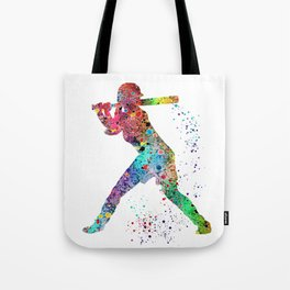 Baseball Softball Player Sports Art Print Watercolor Print Girl's softball Tote Bag