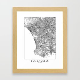 Los Angeles White Map Framed Art Print