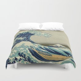 The Classic Japanese Great Wave off Kanagawa Print by Hokusai Duvet Cover