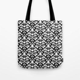 Flourish Damask Big Ptn White on Black Tote Bag
