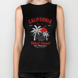 california sunset beach Biker Tank