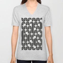 Black And White Mid Century Modern Geometric Pattern Unisex V-Neck