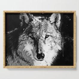 wolf splatter watercolor black white Serving Tray
