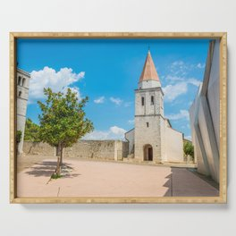 Square of the Glagolitic Monks with Church of St Francis, Town of Krk on the island of Krk, Croatia Serving Tray