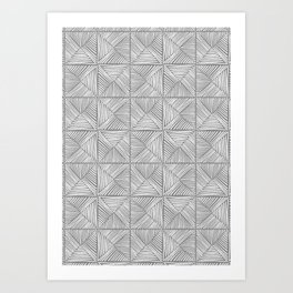 Parquet - white on grey Art Print