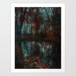 Enchanted Forest Lake Crimson & Teal Art Print