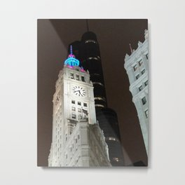 Wrigley building at night Chicago Metal Print