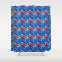 Colorful  blue scales Shower Curtain
