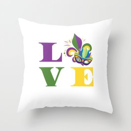 Mardi Gras Love Gras Street Party Carnival Gift Throw Pillow