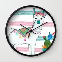 Llama Loves Cactus by Elizabeth Claire Wall Clock