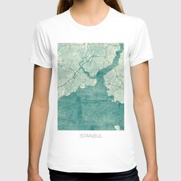 Istanbul Map Blue Vintage T-shirt