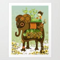 Elephant Garden Art Print