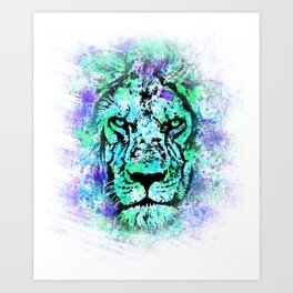 Face of a lion. Grunge style. Art Print