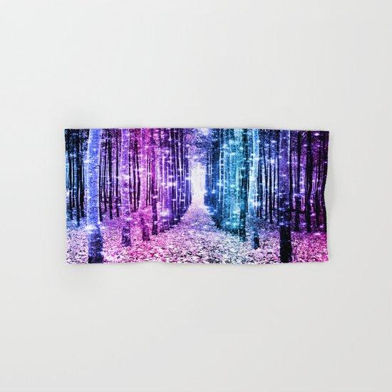 Magical Forest : Aqua Periwinkle Purple Pink Ombre Sparkle Hand & Bath Towel
