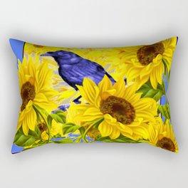 ARTISTIC BLUE CROW SUNFLOWERS CONCEPT Rectangular Pillow