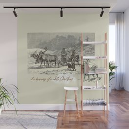 Nothern winter scene with Dogs and Reindeers team Wall Mural