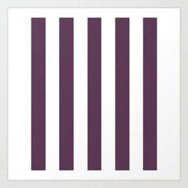 Dark byzantium purple - solid color - white vertical lines pattern Art Print