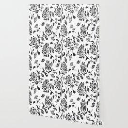 Chryanthemum black on white by Lorloves Design Wallpaper