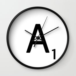 Letter A - Custom Scrabble Letter Wall Art - Scrabble A Wall Clock