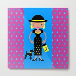 French Chic girl with poodle Metal Print