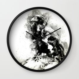 Watercolor Crow, Black and White Crow, Crow Painting, Cool Crow, Ink Crow Wall Clock