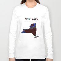 new york map Long Sleeve T-shirts featuring New York Map by Roger Wedegis