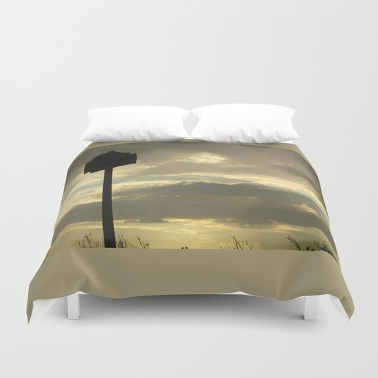 Grey tan stormy clouds in the middle of nowhere Duvet Cover