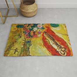 Above Paris (and bouquet of flowers) by Marc Chagall Rug