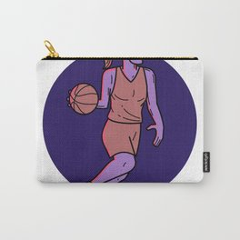 Woman Basketball Player Dribbling Mono Line Art Carry-All Pouch