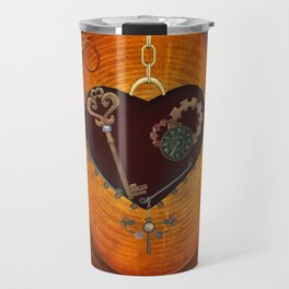 Steampunk, heart with gears Travel Mug