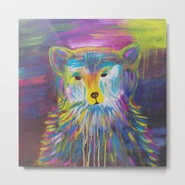 Rainbow Bear Metal Print