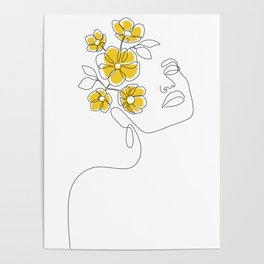 Mustard Bloom Girl Poster